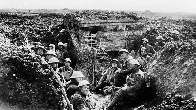 A machine gun emplacement on the crest of Vimy Ridge and the men who drove the Germans from it during the Battle of Vimy Ridge, April 1917.